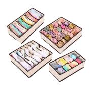 Schoolsupply 4PCS Space Saver Nonwoven Beige Storage Box Container Drawer Divider Ties Socks Bra Underwear Organiser Classify To Storage