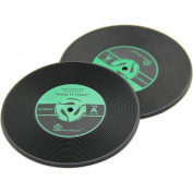 Sale! Green Vintage Record Coasters - Set of 2 - Retro Vinyl Design for Home Furnishings, Good Grip & Value - Best Match to Fine Furniture/cup/mug/bar/beer/drinks - Unique Office & Kitchen Decoration - 100% Satisfaction Guarantee!