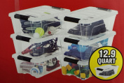 IRIS Storage Containers Clear Plastic Box Lidded Stackable 12.2l