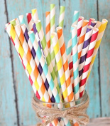 Charmed Rainbow stripe paper straw set of 150 straws with all the colour of the rainbow!