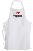 I Love Veggies – Adult Size Apron – Heart Vegetables Vegetarian