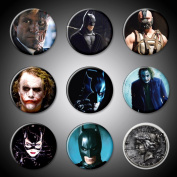 Batman Movie Magnets and Villians Set of 9 Bat Man Joker Harvey Dent Two-Face Bane Catwoman 2.5cm round for fridge magnet boards black and white boards