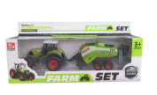 Cltoyvers Grain Harvester Metal Tractor with Plastic Trailer Farm Equipment Toy for Kids - Green
