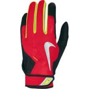 Nike Vapour Elite Pro Batting Glove Chile Red / Black / Yellow Silver Swoosh Small