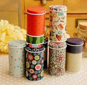 Fashionclubs 5pcs/set Metal Colourful Round Tea Storage Tins,Sugar Candy Containers Boxes,Random Colour