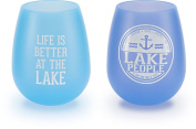 We People - The Boat Life Purple and Blue Silicone Wine Glass Set