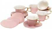 Classic Coffee & Tea Inside Out Heart Cups & Saucers, Set of 6, Pink/Gold, 190ml