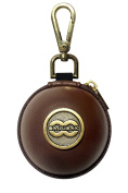Ballsak Pro - Brass/Brown - Clip-on Cue Ball Case, Cue Ball Bag for Attaching Cue Balls, Pool Balls, Billiard Balls, Training Balls to Your Cue Stick Bag EXTRA STRONG STRAP DESIGN!