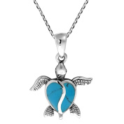 Love Life Sea Turtle Heart Simulated Turquoise .925 Sterling Silver Necklace
