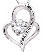 """ALOV Jewellery Sterling Silver """"I love you with all my heart"""" Love Heart Cubic Zirconia Necklace"""