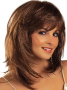 AmorWig Fashion Bob Middle Length Straight Layered Brown Hair Wigs for Women