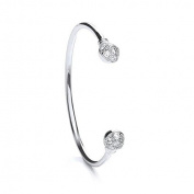 Sterling Silver Torque Baby Bangle With Cubic Zirconia - Christening Gift - British Made - Hallmarked