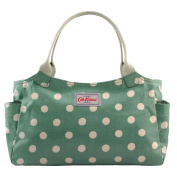 Cath Kidston Shiny Oilcloth Day Bag Handbag Polka Button Spot Green