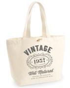 60th Birthday, 1957 Keepsake, Funny Gift, Gifts For Women, Novelty Gift, Ladies Gifts, Female Birthday Gift, Heavyweight EarthAwareTM Organic Marina Tote Bag, Shopping Bag, Present, Gift Idea