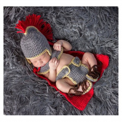 Handmade Infant Newborn Baby Girl Boy Crochet Knit army general Set Photography Props Outfits Costume