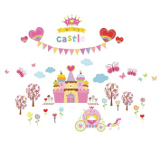 Winhappyhome Cake Castle Nursery Wall Stickers for Kids Room Decoration Removable Art Decals