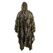Zicac Outdoor 3D Leaves Camouflage Ghillie Poncho Camo Cape Cloak Stealth Ghillie Suit Military CS Woodland Hunting Clothing Free Size