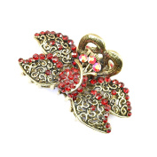 8 cm Vintage/ Antique Style Burnished Gold Effect Floral Design Red Crystal Diamante Studded Hair Clamp/ Hair Grip by Chelsea Jones