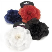 H20347 Spectator Red Fabric Flower Hair Clip Accessory by Amberjewellery