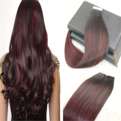 Seamless Tape In Hair Extentions Colour 1B99J# 20pcs/50g Human Remy Hair Extensions Silky Straight 60cm