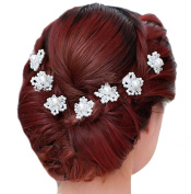 Bridal Hair Accessories - 1 Set of 5 chignon pins flower shape beads white