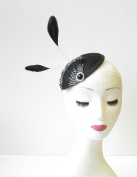 Black White Silver Feather Fascinator Pillbox Hair Races Vintage 1940s Hat 1454 *EXCLUSIVELY SOLD BY STARCROSSED BEAUTY*