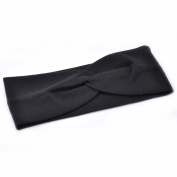 Women . Wide Knot Plain Hair Headbands , Stretch Fabric Band, Black by Cloud9Basic