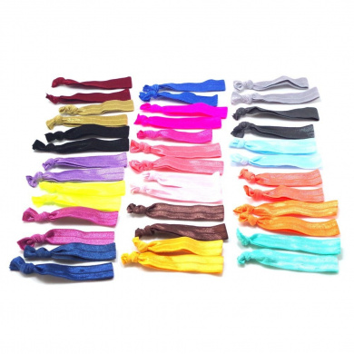 Hanmei No Crease Ribbon Elastics Hair Ties, Ouchless Ponytail Holders Hand Knotted Friendship Bracelet(100 Ties) (Mixed Colours)