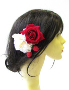 Strawberry Cream Red Rose Flower Hair Comb Vintage Rockabilly 1950s Berry 1518 *EXCLUSIVELY SOLD BY STARCROSSED BEAUTY*