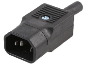 Pike & Co.® Rewireable C14 IEC Plug Connector, Black, Straight [Pack Size
