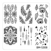 Hippie Chic Plate BM S308 Bundle Monster Nail Art Stamping Template