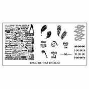 Plate BM XL 301 Bundle Monster Feather for Nail Art Stamping Template