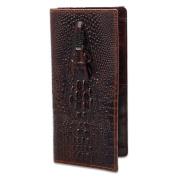 Men's Fashion Casual Business Vintage Genuine Cowhide Leather Crocodile Pattern Long Bifold Wallet Purse Alligator Tiger Dragon Head Embossing