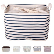 DOKEHOM DKA0611BLS 38cm Large Laundry Storage Basket (Available 38cm and 43cm ), Drawstring Square Cotton Linen Collapsible Toy Basket