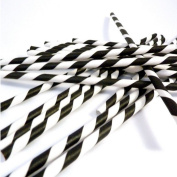 SKY-II Fashion Disposable Biodegradable Paper Black and White Striped Drinking Straws