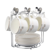 FOKOM Set of 6 Caffee Cup Tea Cup with with Saucer and Spoon