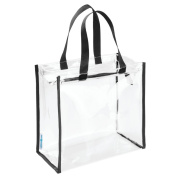 InterDesign Nya Travel Accessories Bag/Tote for Personal Care/Beauty Products/Toys/Stadium/Beach/Gym, Clear/Black
