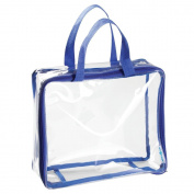 InterDesign Nya Travel Accessories Bag, For Personal Care/Beauty Products, Cosmetics, Toys, Art Supplies, Beach - Medium, Clear/Navy Blue