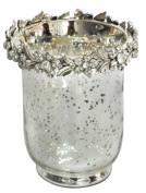 Antique Silver Glass Hurricane Candle Holder W/Nickel and Diamante Flower