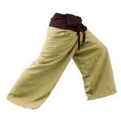 2 TONE Thai Fisherman Pants Yoga Trousers FREE SIZE Plus Size Cotton Drill Striped Brown