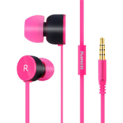 RockPapa IP205B In Ear Earphones Microphones Stereo Ear Buds with Silicone Case for SmartPhones Laoptop MP3/4 iPhone DVD Pink