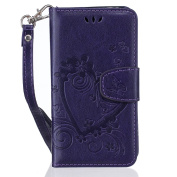 Samsung Galaxy S5Mini G800 SM-G800 Case Leather, Ecoway Love embossed pattern PU Leather Stand Function Protective Cases Covers with Card Slot Holder Wallet Book Design Detachable Hand Strap for Samsung Galaxy S5Mini G800 SM-G800 - purple
