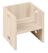 Cube, chair and table Elena white, biological solid pine wood
