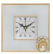 Table Clock White Glass With Gold Edge and Brooch Detail
