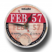 February 1957 Retro Tax Disc Clock, Boxed. Ideal 60th Birthday Gift