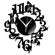 Wall Clock - Kingwo Vintage Style Clock Unique Cat Mirror Black Wall Clock Modern Design Home Decor Watch Wall Sticker