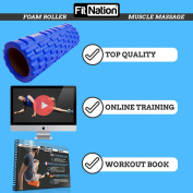 Fit Nation Foam Roller for Muscle Massage with Exercise Book, Ultra Lightweight Hollow Core Muscle Roller for Deep Pain Relief in Your Aching Legs and Body. Ideal For Runner Cyclist Footballer Athlete