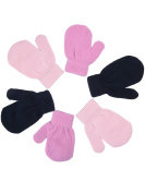 Mudder Baby Gloves Girls Mittens Gloves Stretch Knitted Glove for Little Girls Baby Infants, 3 Pairs