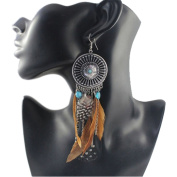 ECYC Vintage Hollow Fringed Feathers Long Earring For Women Jewellery Bohemian