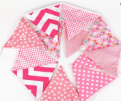 [PINK V1] 3.2m Double Sided Vintage Chic Floral Fabric Bunting Garland Shabby Tea Party Banner ...